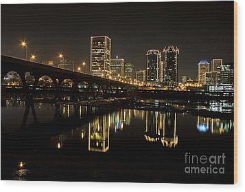 River City Lights At Night Wood Print by Tim Wilson
