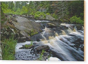 River Flow V Wood Print by Sean Holmquist