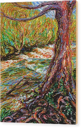 River Hafren In September Wood Print by Alexandra Cook