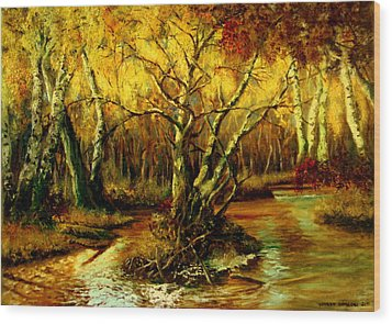 Wood Print featuring the painting River In The Forest by Henryk Gorecki