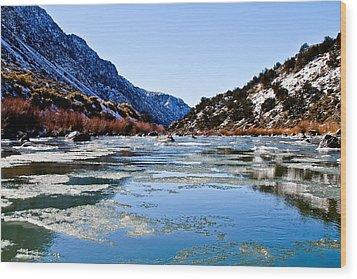 River In Winter Wood Print by Atom Crawford