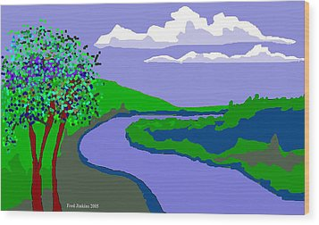 River Landscape Wood Print by Fred Jinkins