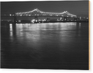 River Lights Wood Print by John Gusky