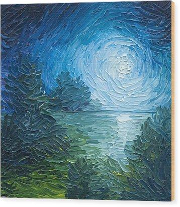 River Moon Wood Print