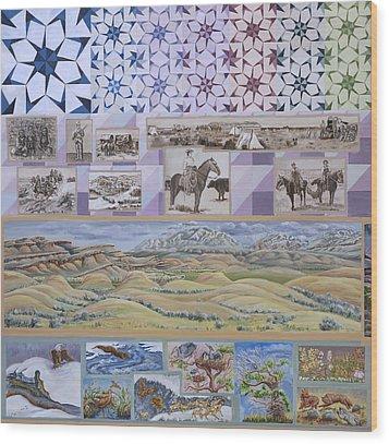 River Mural Spring Panel Top Half Wood Print by Dawn Senior-Trask