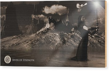 Wood Print featuring the digital art River Of Strength by Everett Houser