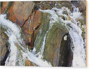 River Power Dashed Upon The Rocks Wood Print