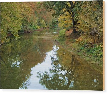 River Reflection Autumn Sunday Wood Print by Terry  Wiley