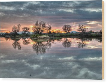 River Reflection Sunrise Wood Print