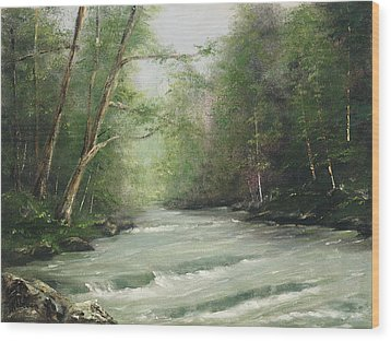 Wood Print featuring the painting River Retreat by Rebecca Kimbel