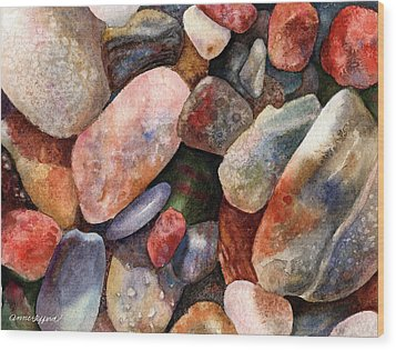 Wood Print featuring the painting River Rocks by Anne Gifford