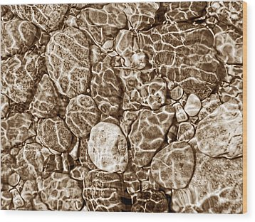 River Rocks In Stream Bed Sepia Wood Print by Jennie Marie Schell