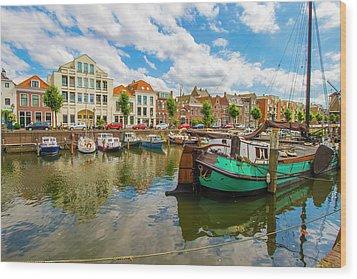River Scene In Rotterdam Wood Print