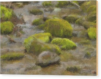 River Stones Wood Print by Paul Bartoszek