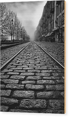 River Street Railway - Black And White Wood Print