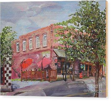 Wood Print featuring the painting River Street Tavern-ellijay, Ga - Cheers by Jan Dappen