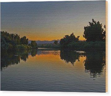 River Sunset Wood Print