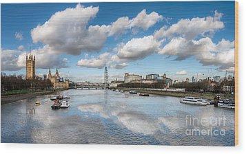 River Thames London Wood Print by Adrian Evans