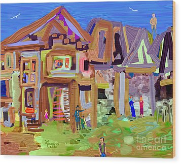 River Village Morning Wood Print
