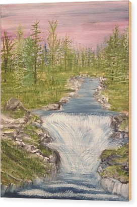 River With Falls Wood Print
