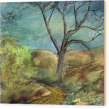 Wood Print featuring the painting Riverbed  by Annette Berglund
