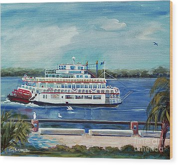 Riverboat Savannah Wood Print by Doris Blessington