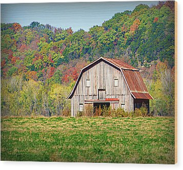 Riverbottom Barn In Fall Wood Print by Cricket Hackmann