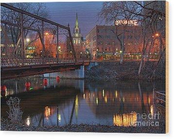 Riverplace Minneapolis Little Europe Wood Print by Wayne Moran