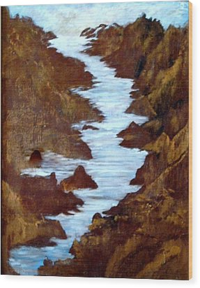 Wood Print featuring the painting Rivers End by Sherri  Of Palm Springs
