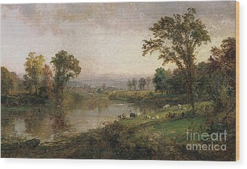 Riverscape In Early Autumn Wood Print by Jasper Francis Cropsey