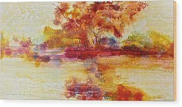 Riverscape In Red Wood Print by Carolyn Rosenberger