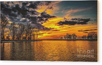 Wood Print featuring the photograph Riverview Beach Park Sunset by Nick Zelinsky
