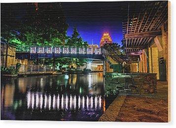 Riverwalk Bridge Wood Print by Mark Dunton