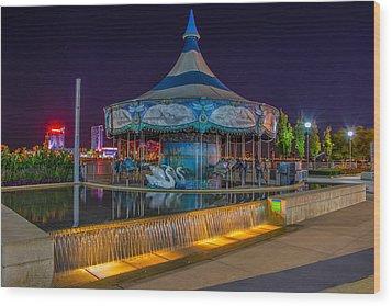 Riverwalk Carousel  Wood Print