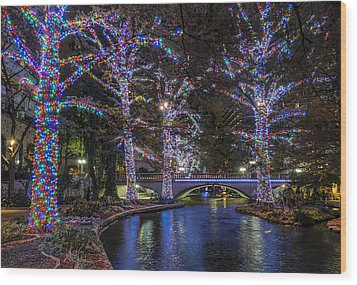 Wood Print featuring the photograph Riverwalk Christmas by Steven Sparks