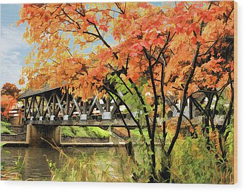 Wood Print featuring the painting Riverwalk Covered Bridge by Christopher Arndt
