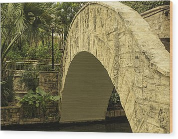 Riverwalk Footbridge Wood Print by Anne Witmer