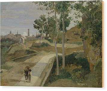 Road From Volterra Wood Print by Jean Baptiste Camille Corot