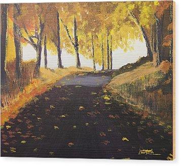 Road In Autumn Wood Print