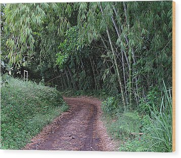 Road Into Bamboo Forest Wood Print by Jack Herrington