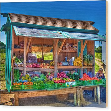 Road Side Fruit Stand Wood Print