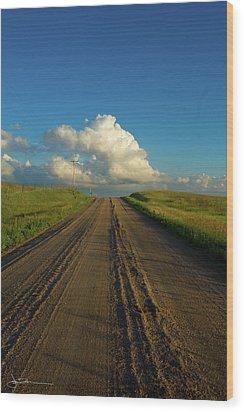 Road To Cumulus Wood Print