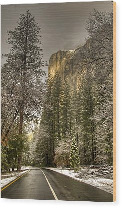 Road To El Capitan After Snow Storm At Sunrise Wood Print