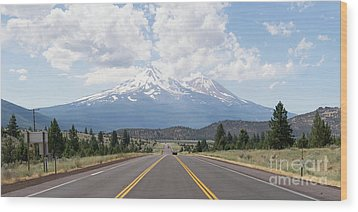 Wood Print featuring the photograph Road To Mt Shasta California Dsc5048 Panorama by Wingsdomain Art and Photography
