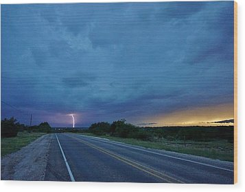 Lightning Over Sonora Wood Print by Ed Sweeney