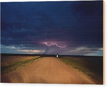 Road Under The Storm Wood Print by Ed Sweeney