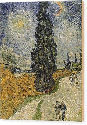 Road With Cypresses Wood Print by Vincent Van Gogh