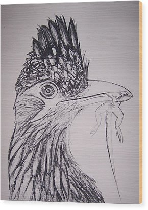 Wood Print featuring the painting Roadrunner by Jude Labuszewski