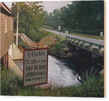 Roadside Fishing Spot Wood Print by Doug Strickland