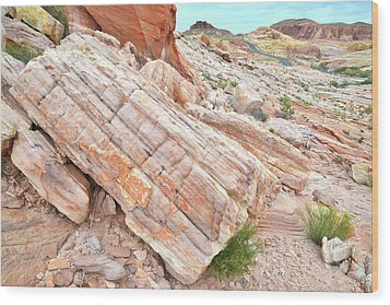 Wood Print featuring the photograph Roadside Sandstone In Valley Of Fire by Ray Mathis
